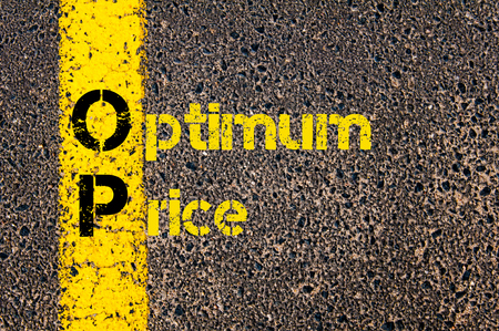 optimum: Concept image of Accounting Business Acronym OP Optimum Price written over road marking yellow paint line.