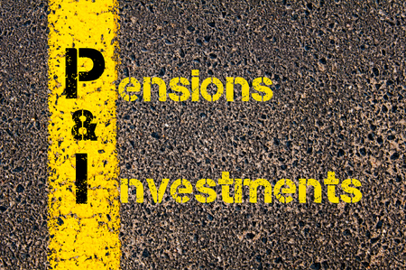 pensions: Concept image of Accounting Business Acronym PI Pensions and Investments written over road marking yellow paint line.