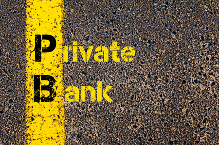 pb: Concept image of Accounting Business Acronym PB Private Bank written over road marking yellow paint line.