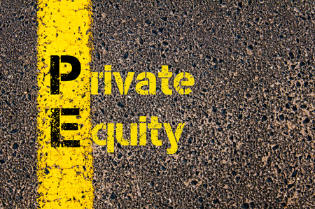 equity: Concept image of Accounting Business Acronym PE Private Equity written over road marking yellow paint line.