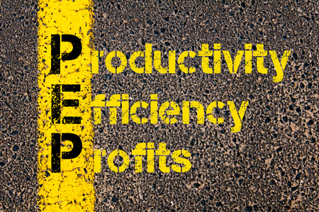 pep: Concept image of Accounting Business Acronym PEP Productivity Efficiency And Profits written over road marking yellow paint line.