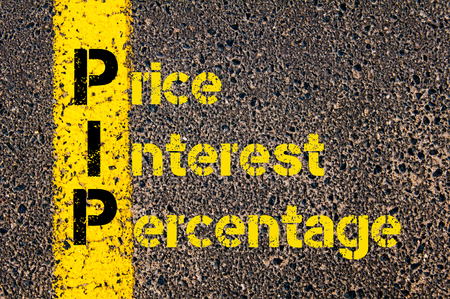 pip: Concept image of Accounting Business Acronym PIP Price Interest Percentage written over road marking yellow paint line.