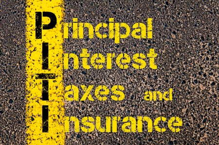 financial guidance: Concept image of Accounting Business Acronym PITI Principal Interest Taxes And Insurance written over road marking yellow paint line.