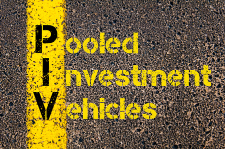 pooled: Concept image of Accounting Business Acronym PIV Pooled Investment Vehicles written over road marking yellow paint line.