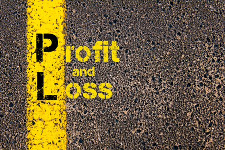 pl: Concept image of Accounting Business Acronym PL Profit and Loss written over road marking yellow paint line. Stock Photo