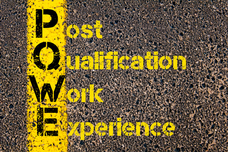 work experience: Concept image of Accounting Business Acronym PQWE Post Qualification Work Experience written over road marking yellow paint line. Stock Photo