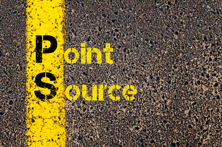 ps: Concept image of Accounting Business Acronym PS Point Source written over road marking yellow paint line. Stock Photo