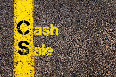 cs: Concept image of Accounting Business Acronym CS Cash Sale written over road marking yellow paint line. Stock Photo