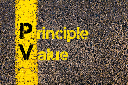 pv: Concept image of Accounting Business Acronym PV Present Value written over road marking yellow paint line.