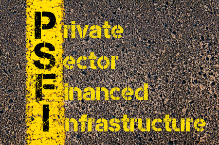 financed: Concept image of Accounting Business Acronym PSFI Private Sector Financed Infrastructure written over road marking yellow paint line.