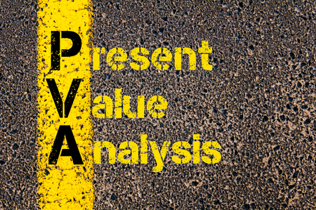 pva: Concept image of Accounting Business Acronym PVA Present Value Analysis written over road marking yellow paint line. Stock Photo