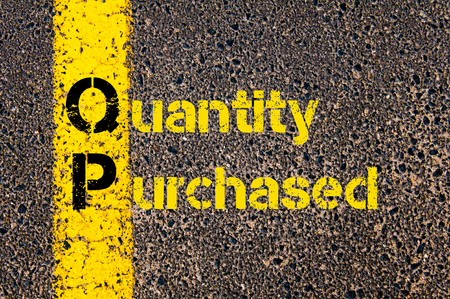 purchased: Concept image of Accounting Business Acronym QP Quantity Purchased written over road marking yellow paint line.