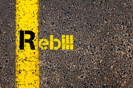r image: Concept image of Accounting Business Acronym R Rebill written over road marking yellow paint line.
