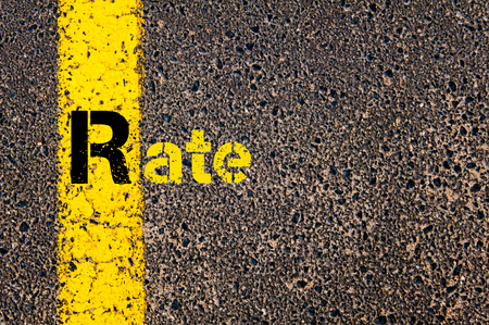 r image: Concept image of Accounting Business Acronym R Rate written over road marking yellow paint line.