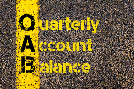 quarterly: Concept image of Accounting Business Acronym QAB Quarterly Account Balance written over road marking yellow paint line. Stock Photo