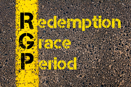 redemption: Concept image of Accounting Business Acronym RGP Redemption Grace Period written over road marking yellow paint line.