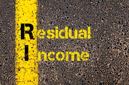 ingresos: Imagen del concepto del acrónimo Business Accounting RI Ingreso Residual escrito más de marcaje línea de pintura de color amarillo carretera.