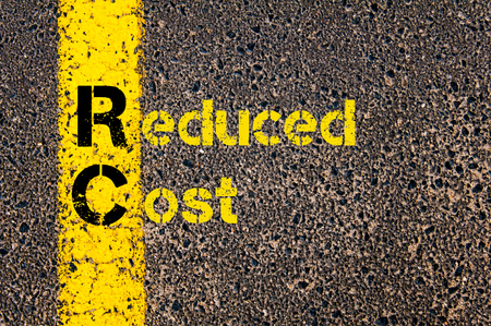 rc: Concept image of Accounting Business Acronym RC Reduced Cost written over road marking yellow paint line. Stock Photo