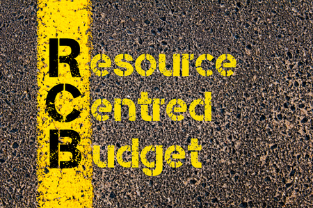 centred: Concept image of Accounting Business Acronym RCB Resource Centred Budget written over road marking yellow paint line.