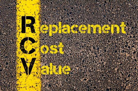 value: Concept image of Accounting Business Acronym RCV Replacement Cost Value written over road marking yellow paint line.