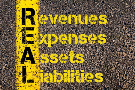 liabilities: Concept image of Accounting Business Acronym REAL Revenues Expenses Assets Liabilities written over road marking yellow paint line. Stock Photo