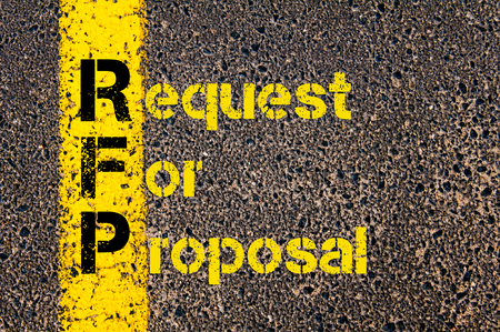 Concept image of Accounting Business Acronym RFP Request For Proposal written over road marking yellow paint line.