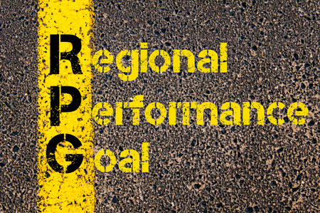 rpg: Concept image of Accounting Business Acronym RPG Regional Performance Goal written over road marking yellow paint line. Stock Photo