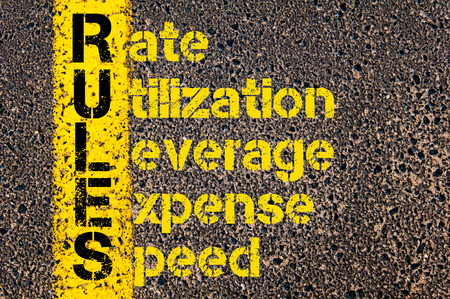 utilization: Concept image of Accounting Business Acronym RULES Rate, Utilization, Leverage, Expense, Speed written over road marking yellow paint line. Stock Photo