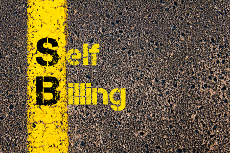 billing: Concept image of Accounting Business Acronym SB Self Billing written over road marking yellow paint line.