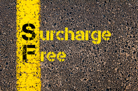 sf: Concept image of Accounting Business Acronym SF Surcharge Free written over road marking yellow paint line.