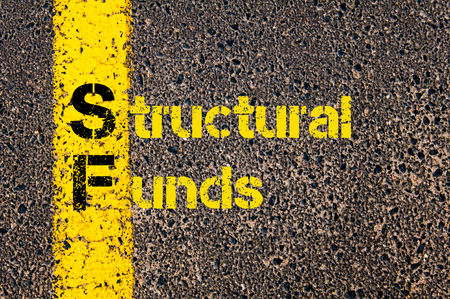 sf: Concept image of Accounting Business Acronym SF Structural Funds written over road marking yellow paint line. Stock Photo