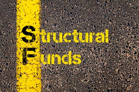 fondos negocios: Imagen del concepto del acr�nimo Business Accounting Fondos Estructurales SF escritos a lo largo marcando la l�nea de pintura de color amarillo carretera.