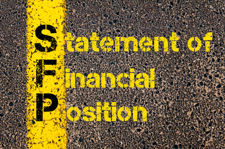road position: Concept image of Accounting Business Acronym SFP Statement of Financial Position written over road marking yellow paint line.