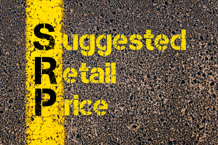 suggested: Concept image of Accounting Business Acronym SRP Suggested Retail Price written over road marking yellow paint line. Stock Photo
