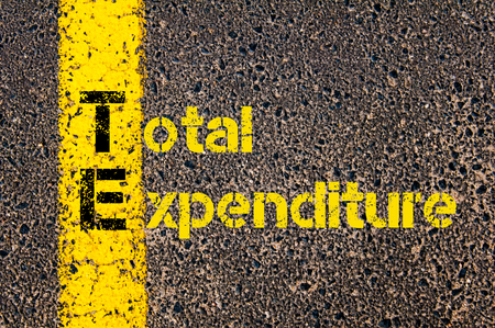 expenditure: Concept image of Accounting Business Acronym TE Total Expenditure written over road marking yellow paint line.