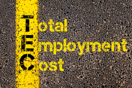 tec: Concept image of Accounting Business Acronym TEC Total Employment Cost written over road marking yellow paint line.