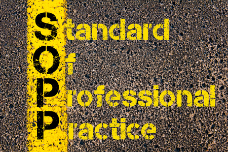 professional practice: Concept image of Accounting Business Acronym SOPP Standard of Professional Practice written over road marking yellow paint line.
