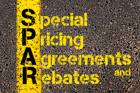 rebates: Concept image of Accounting Business Acronym SPAR Special Pricing Agreements And Rebates written over road marking yellow paint line.