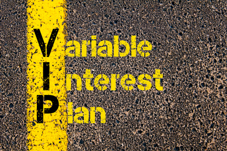 variable: Concept image of Accounting Business Acronym VIP Variable Interest Plan written over road marking yellow paint line.