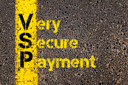secure payment: Concept image of Accounting Business Acronym VSP Very Secure Payment written over road marking yellow paint line. Stock Photo