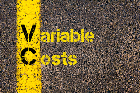 variable: Concept image of Accounting Business Acronym VC Variable Costs written over road marking yellow paint line.