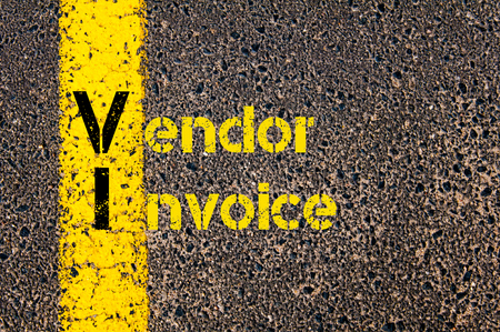 vi: Concept image of Accounting Business Acronym VI Vendor Invoice written over road marking yellow paint line.