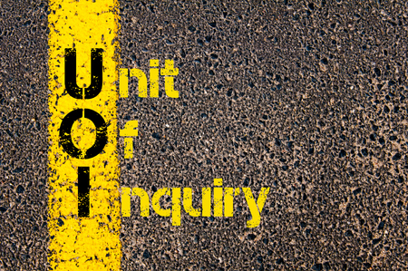 inquiry: Concept image of Accounting Business Acronym UOI Unit Of Inquiry written over road marking yellow paint line.