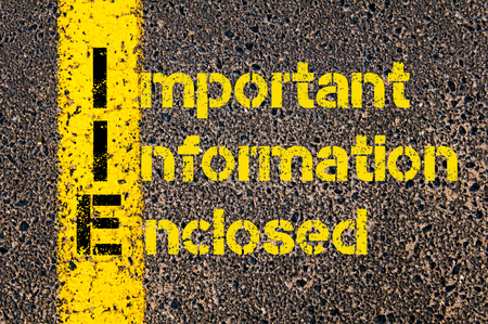 enclosed: Concept image of Accounting Business Acronym IIE Important Information Enclosed written over road marking yellow paint line.