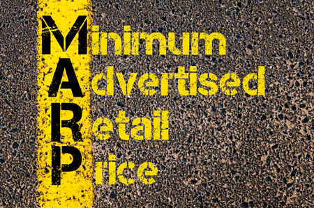 advertised: Concept image of Accounting Business Acronym MARP Minimum Advertised Retail Price written over road marking yellow paint line.