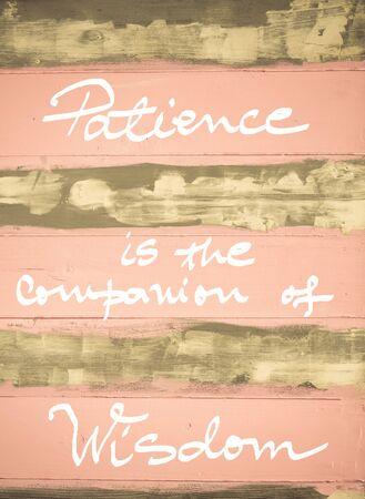 paciencia: Imagen del concepto de la paciencia es el compañero de la sabiduría cita de motivación escrita a mano en la vendimia pintado pared de madera