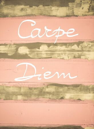 carpe diem: Concept image of Carpe Diem motivational quote hand written on vintage painted wooden wall
