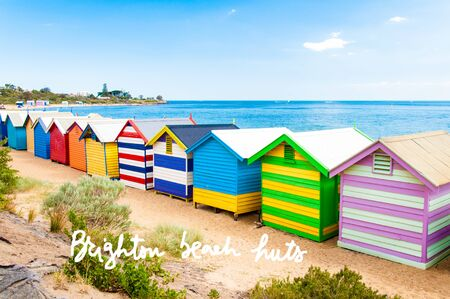 iconic architecture: Bathing boxes at Brighton Beach, Australia with hand written text Brighton beach huts