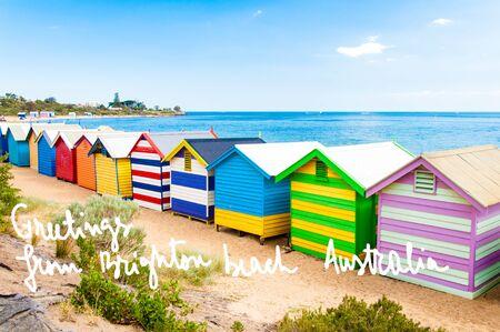 bathing: Bathing boxes at Brighton Beach, Australia with hand written greetings from Brighton beach, Australia Stock Photo