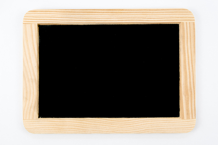 inscribe: Vintage Chalkboard with wooden frame isolated on white Stock Photo
